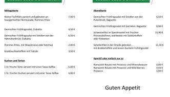 Mittagskarte / Abendkarte / Kuchen und Torten